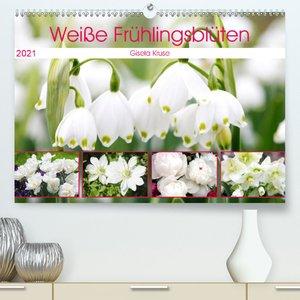 Weiße Frühlingsblüten (Premium, hochwertiger DIN A2 Wandkalender
