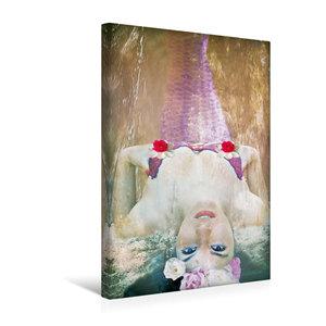 Premium Textil-Leinwand 30 cm x 45 cm hoch Nixe mit Blumen