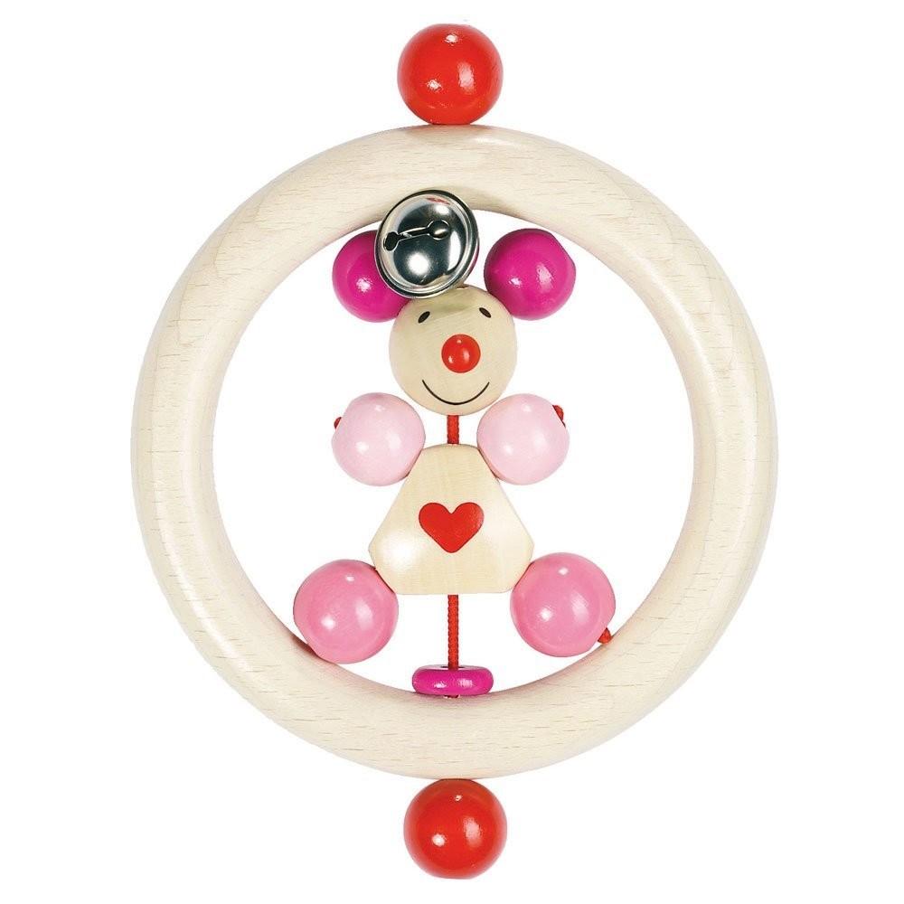 Goki 762900 - Greifling Maus rosa, Holz