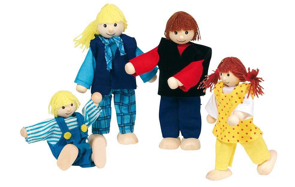 Goki 51955 - Biegepuppen: Junge Familie für Puppenhaus, 4 Figure