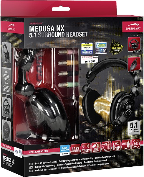 Speedlink MEDUSA NX 5.1 Surround Headset, Kopfhörer, schwarz