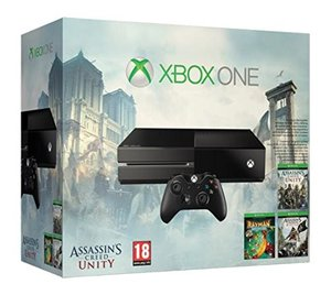 Microsoft Xbox One Konsole - 500 GB - Black, inklusive  AC Unity + AC 4 + Rayman