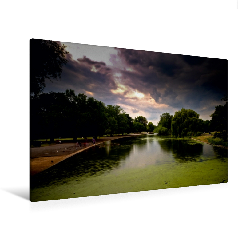 Premium Textil-Leinwand 120 cm x 80 cm quer See in Regents Park