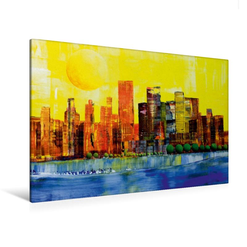Premium Textil-Leinwand 120 cm x 80 cm quer Sonne über New York