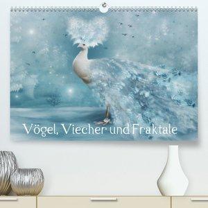Vögel, Viecher und Fraktale (Premium, hochwertiger DIN A2 Wandka