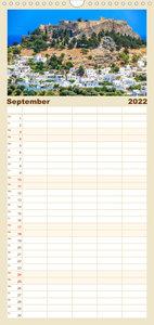 Idyllisches Rhodos - Familienplaner hoch (Wandkalender 2022 , 21 cm x 45 cm, hoch)