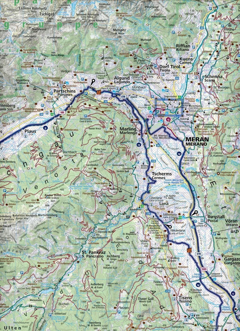 KOMPASS Fahrradkarte Meran, Bozen und Umgebung, Merano, Bolzano