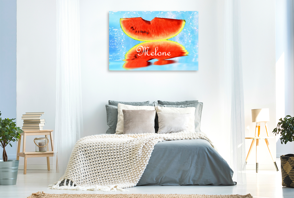 Premium Textil-Leinwand 120 cm x 80 cm quer Melone