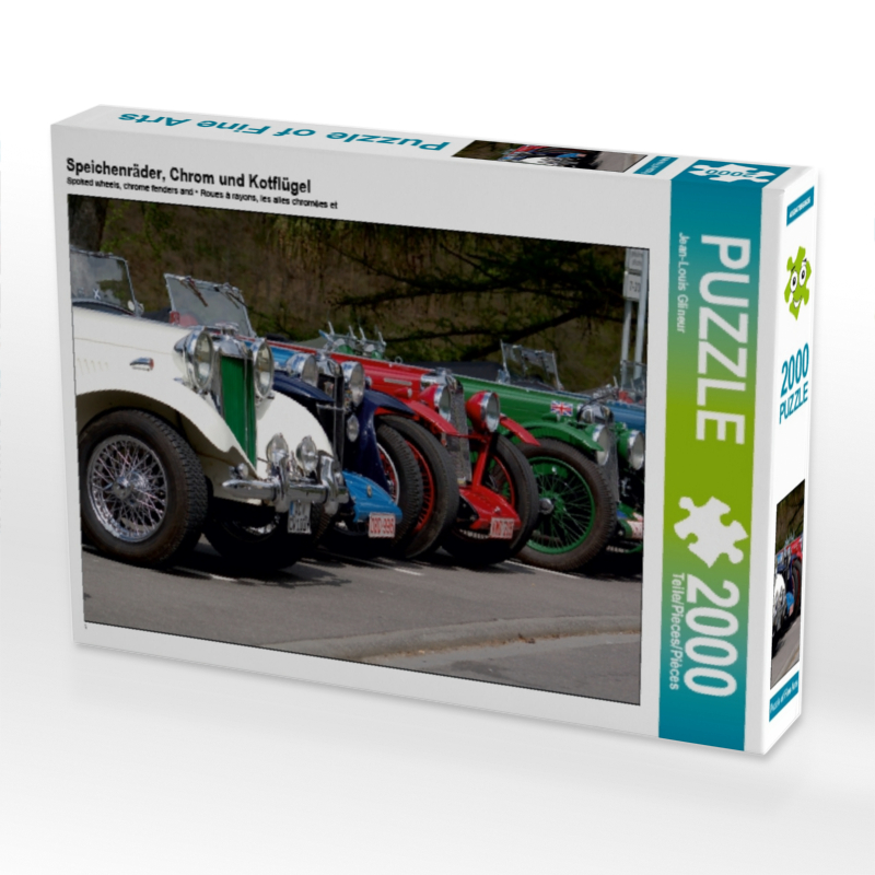 Speichenräder, Chrom und Kotflügel 2000 Teile Puzzle quer