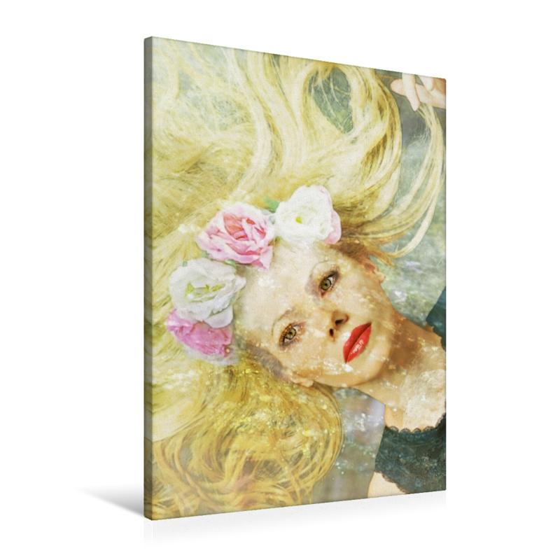 Premium Textil-Leinwand 60 cm x 90 cm hoch Blonde Wassernixe