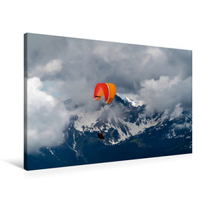 Premium Textil-Leinwand 90 cm x 60 cm quer Paragliding im Allg?u
