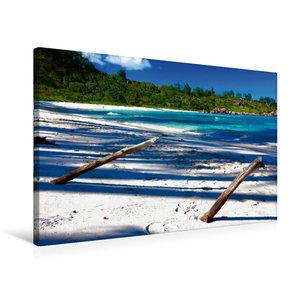 Premium Textil-Leinwand 75 cm x 50 cm quer La Digue - Anse Cocos
