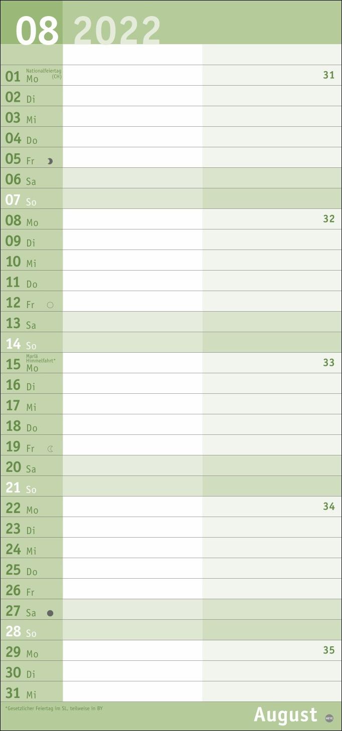Basic Planer für mich Kalender 2022