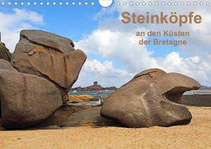 Steinköpfe an den Küsten der Bretagne (Wandkalender 2021 DIN A4
