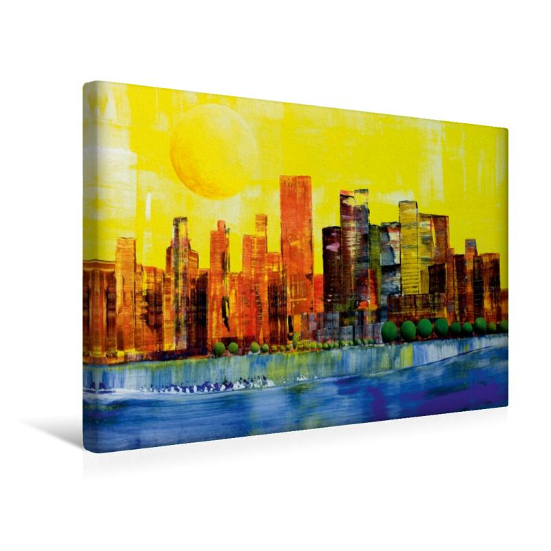 Premium Textil-Leinwand 45 cm x 30 cm quer Sonne über New York
