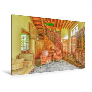 Premium Textil-Leinwand 120 cm x 80 cm quer Die gemütliche Bibli