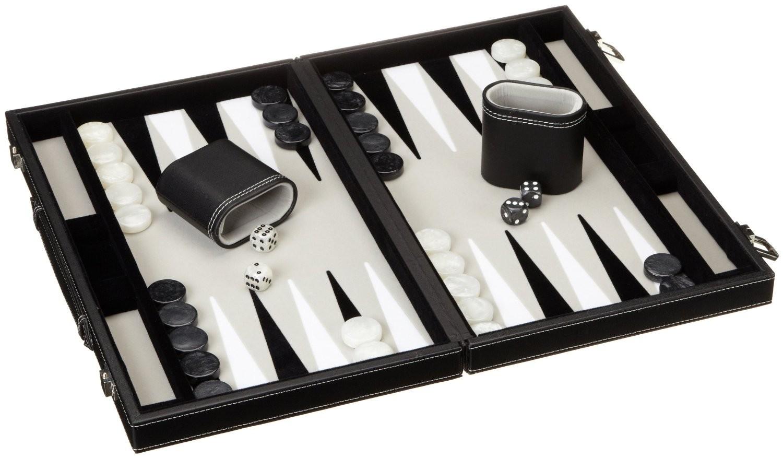 Philos 1731 - Backgammon grau, medium, Kunstleder