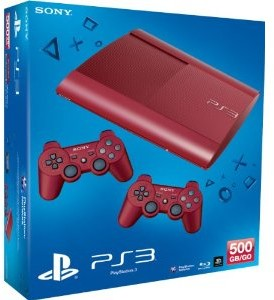 Sony PS3 Konsole 500GB -rot- + 2. Dual Shock Wireless Controller