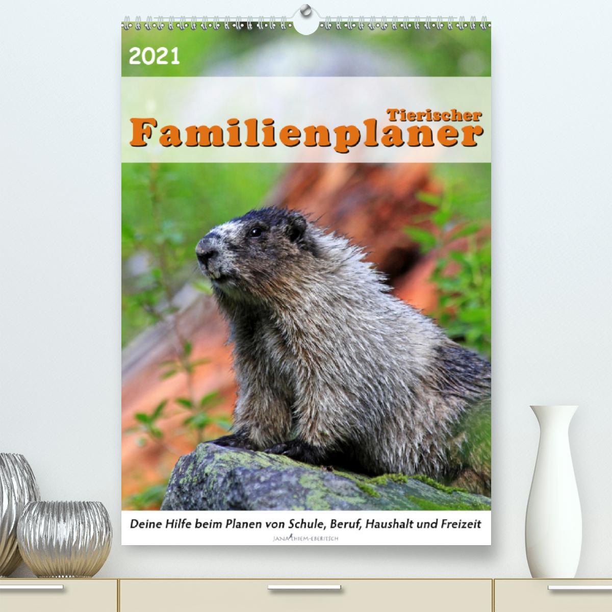 Tierischer Familienplaner (Premium, hochwertiger DIN A2 Wandkale