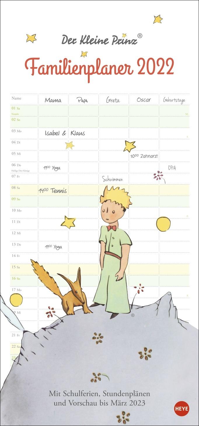 Der Kleine Prinz Familienplaner Kalender 2022