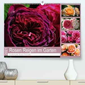 Rosen Reigen im Garten (Premium, hochwertiger DIN A2 Wandkalende