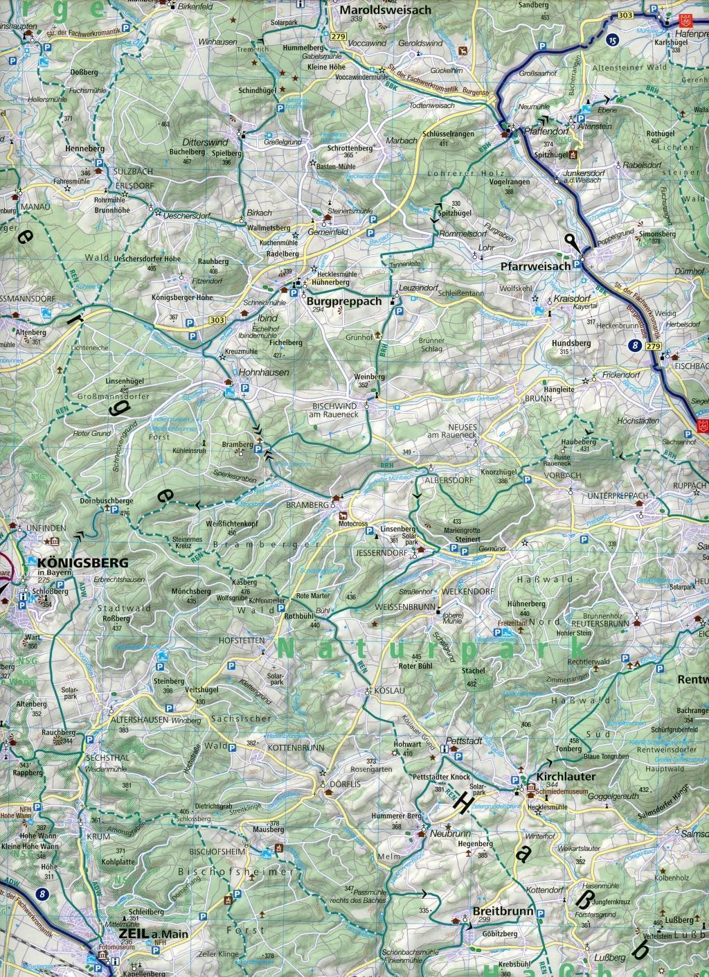 KOMPASS Fahrradkarte Nürnberg, Bamberg, Steigerwald 1:70.000, FK