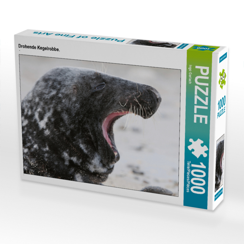 CALVENDO Puzzle Drohende Kegelrobbe. 1000 Teile Lege-Größe 64 x