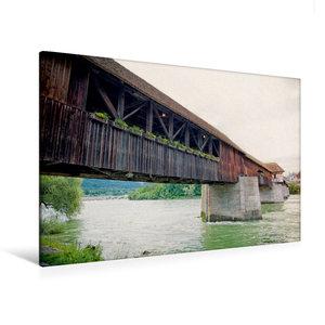 Premium Textil-Leinwand 120 cm x 80 cm quer Rheinbrücke