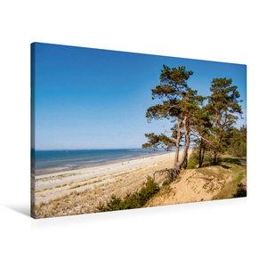 Premium Textil-Leinwand 90 cm x 60 cm quer Lubminer Strand