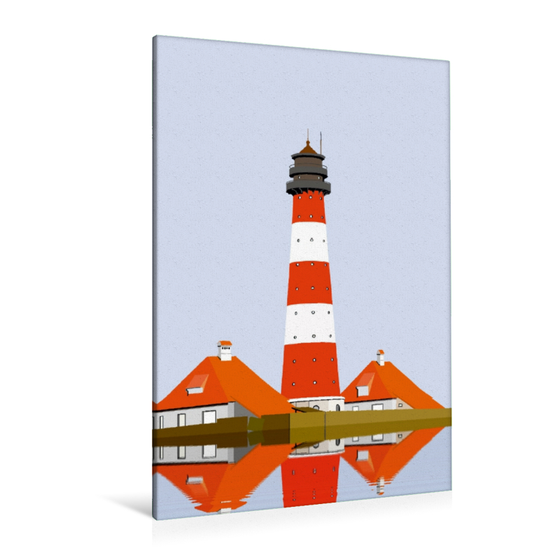 Premium Textil-Leinwand 80 cm x 120 cm  hoch Leuchtturm Westerhe