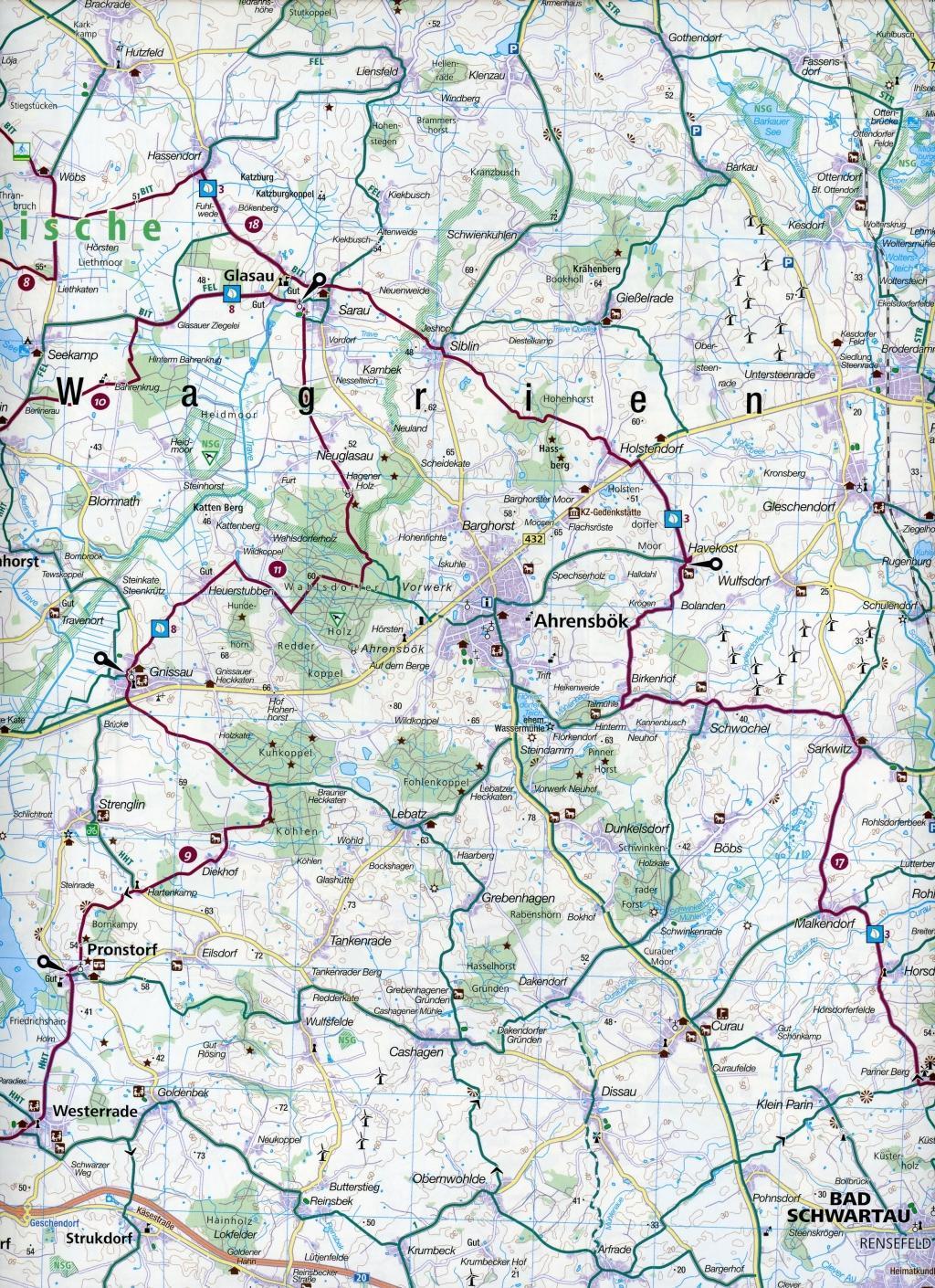 KOMPASS Fahrradkarte Fehmarn, Holsteinische Schweiz, Lübeck 1:70