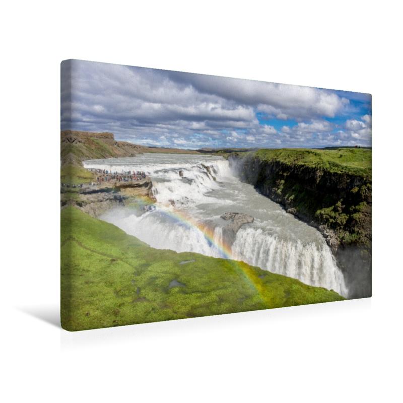Premium Textil-Leinwand 45 cm x 30 cm quer Gullfoss