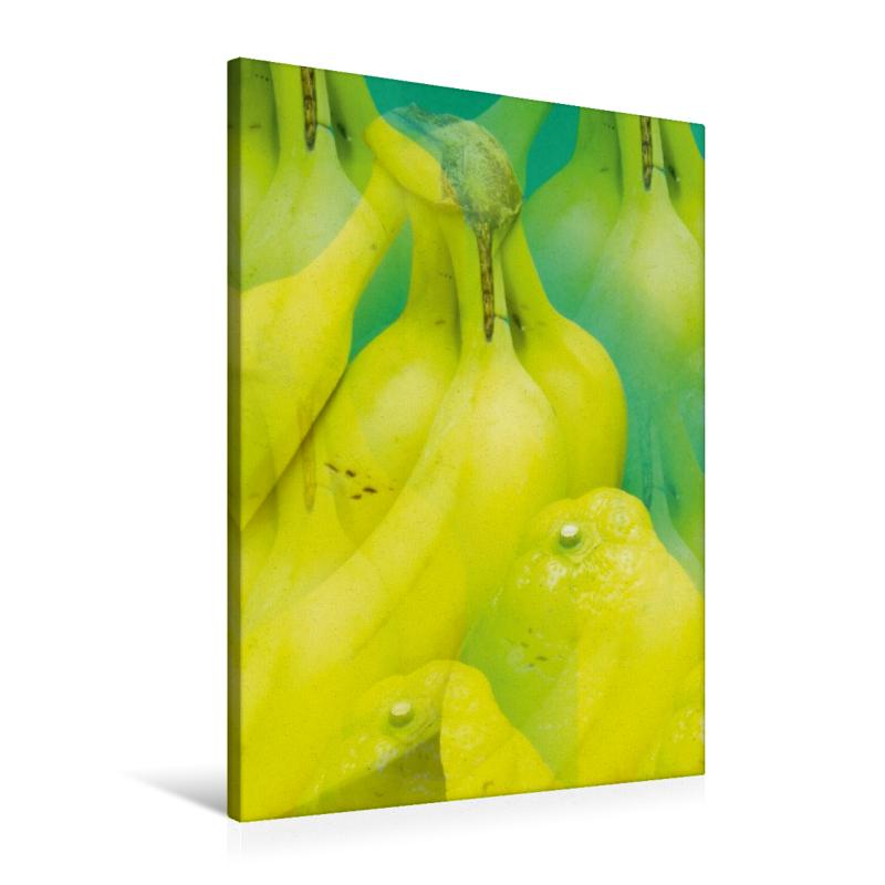 Premium Textil-Leinwand 60 cm x 90 cm hoch Bananen und Zitronen
