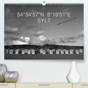 """54°54\'57\""""N 8°19\'51\""""E SYLT (Premium, hochwertiger DIN A2 Wand"""