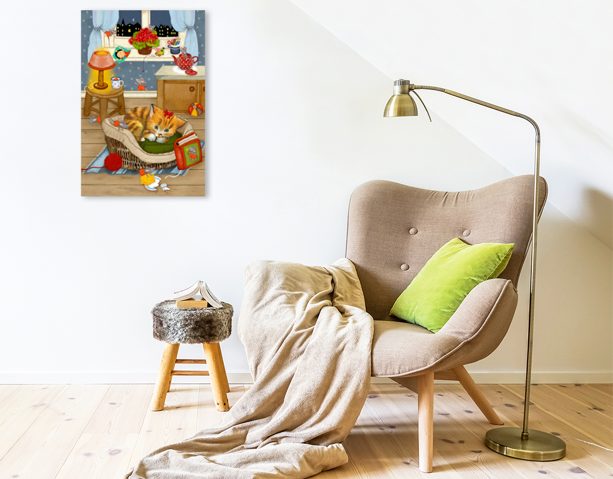 Premium Textil-Leinwand 50 cm x 75 cm hoch Meine Katze Katinka