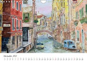 Venedig in stillen Aquarellen (Wandkalender 2022 DIN A4 quer)