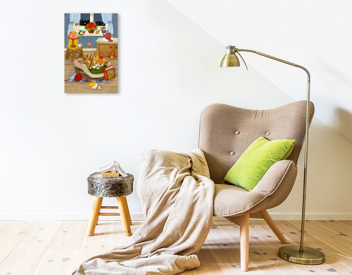 Premium Textil-Leinwand 30 cm x 45 cm hoch Meine Katze Katinka