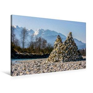 Premium Textil-Leinwand 90 cm x 60 cm quer Isar Pyramiden - Litt