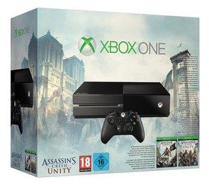 Xbox One Konsole - 500 GB - Black, inklusive  Assassins Creed 4-Black Flag & Assassins Creed Unity