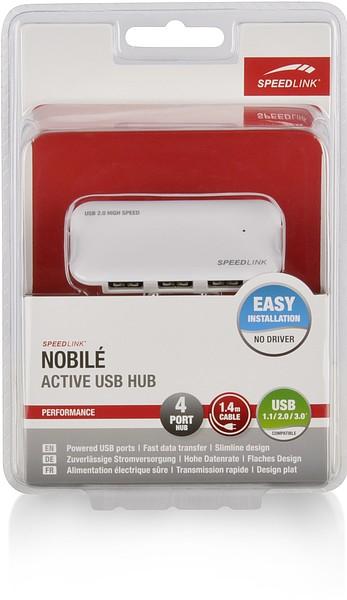 Speedlink SL-7416-SWT NOBILÉ Active USB Hub - 4-Port, weiss
