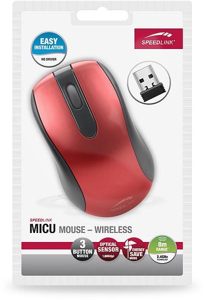 Speedlink MICU Mouse, kabellose 3-Tasten-Maus - Wireless, rot