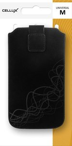 CELLUX Microfibre Pouch/Tasche with Pullstrap - M, black