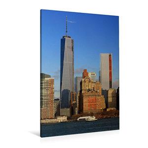 Premium Textil-Leinwand 80 cm x 120 cm  hoch Manhattan Skyline v
