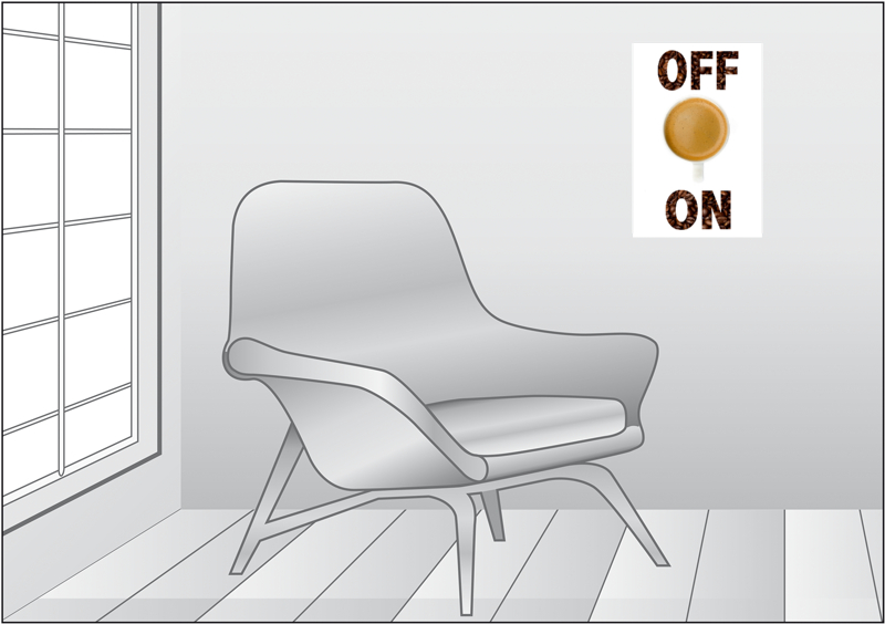 Premium Textil-Leinwand 30 cm x 45 cm hoch Kaffee-Schalter - ON