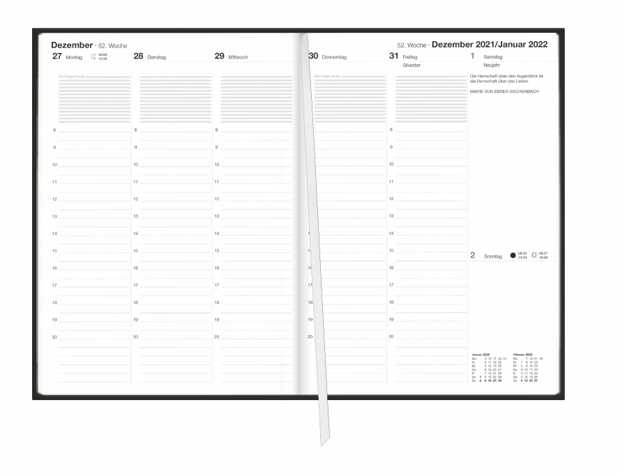 Terminer A5, Struktur schwarz Kalender 2022