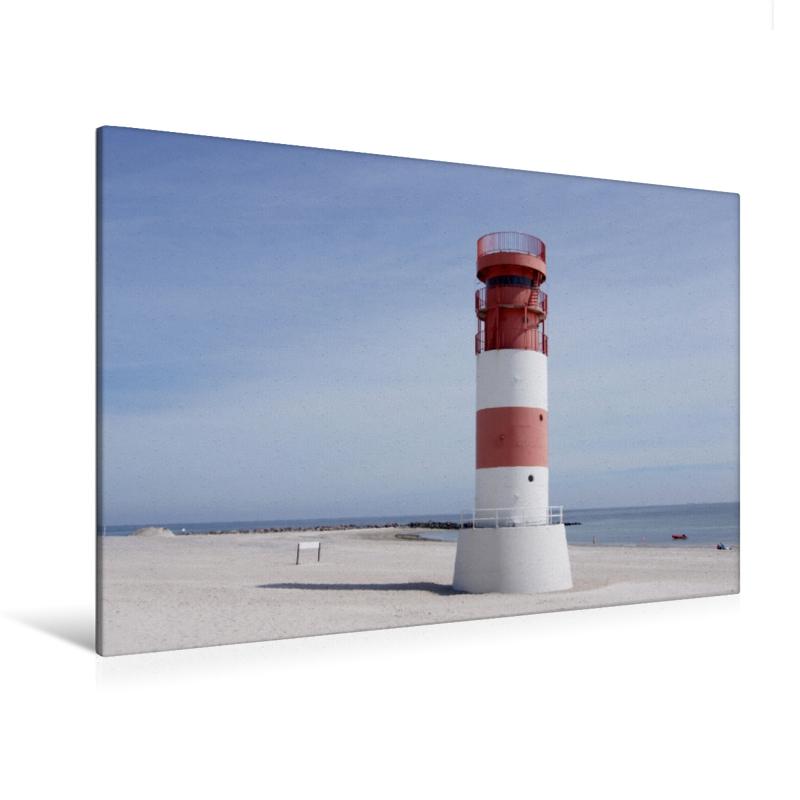 Premium Textil-Leinwand 120 cm x 80 cm quer Leuchtturm auf Helgo