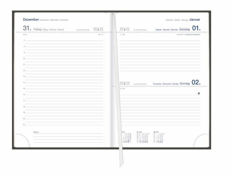 Tages-Cheftimer A5, schwarz Kalender 2022