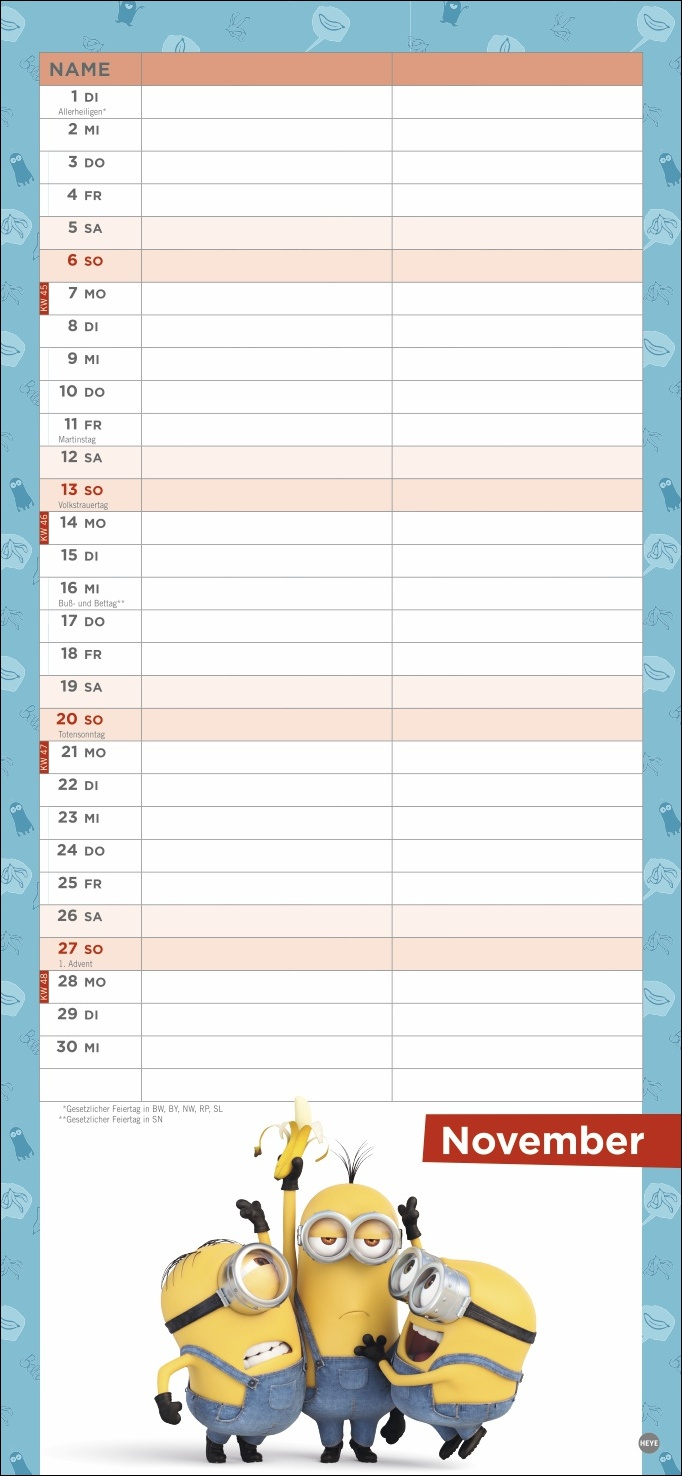 Minions Planer für zwei Kalender 2022