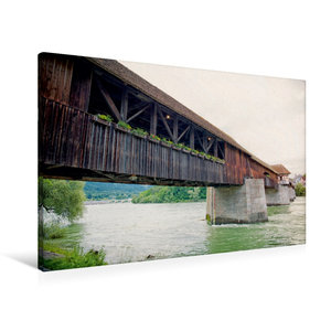 Premium Textil-Leinwand 90 cm x 60 cm quer Rheinbrücke