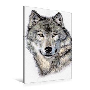 Premium Textil-Leinwand 60 cm x 90 cm hoch Der Sibirische Wolf